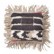 multi texture grey fringe pillow