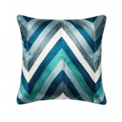 jacquard blue multi chevron pillow