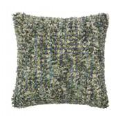 textured green & plum shag pillow
