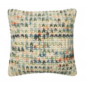 dhurri style green & multi pillow