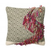dhurri style chevron diamond pillow w/ braided fringe accent