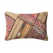 multi colored chevron striped patchwork pillow