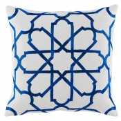 lacefield persian tile cobalt embroidery pillow