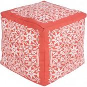 surya outdoor block print rain pouf in coral & blush