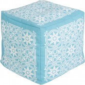 surya outdoor block print rain pouf in aqua & blush