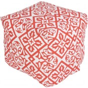 surya outdoor rain pouf in coral & blush