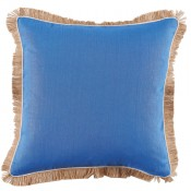 lacefield royal blue linen with oyster pipe and jute fringe pillow