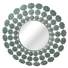 distressed flower wall mirror
