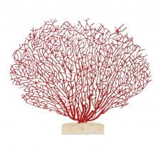 palecek red coral on stone base
