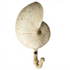 homart nautilus seashell cast iron wall hook, antique white