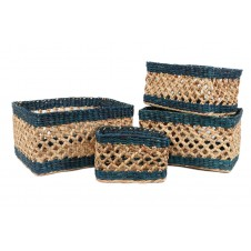 open weave water hyacinth handled basket set