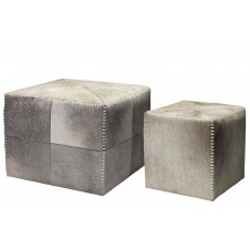 grey hair on hide ottomans