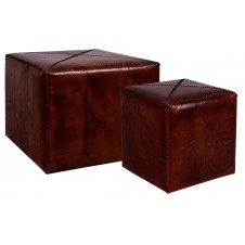 tobacco leather ottomans