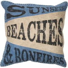 beaches & bonfires pillow