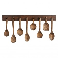 williamsburg 8 wooden pantry spoons with rack