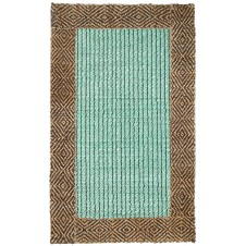 chocolate turquoise diamond braided border jute rug