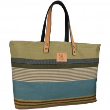 will leather goods reversible weaver's blue/multi tote