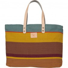will leather goods reversible weaver's gold/multi tote