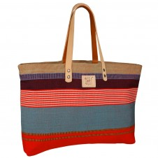 will leather goods reversible weaver's orange/multi tote