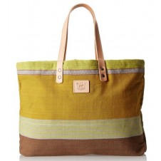 will leather goods reversible weaver's yellow/multi tote