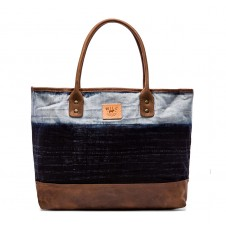 will leather goods indigo batik tote