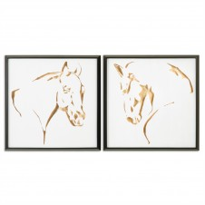 uttermost golden horses art, set of 2