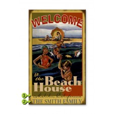 welcome to the beach house customizable wood sign