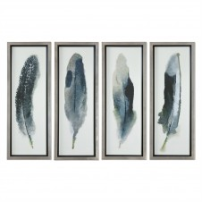 uttermost feathered beauty art, set of 4
