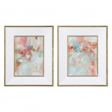 uttermost a touch of blush & rosewood fences art