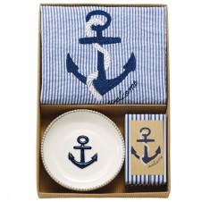 seersucker anchor towel & soap set