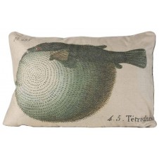 linen puffer fish pillow