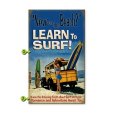 learn to surf customizable wood sign
