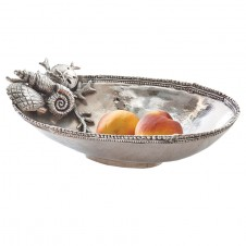 mud pie coral shell metal oval serving bowl