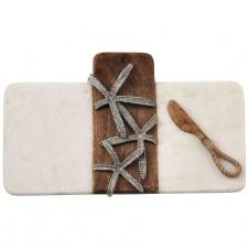 mud pie starfish marble & wood board set