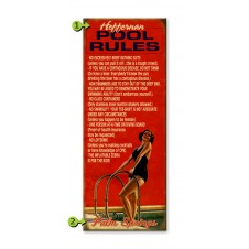 pool rules customizable wood sign