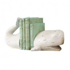 white whale bookend with distressed finish