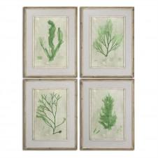 uttermost emerald seaweed art, set of 4