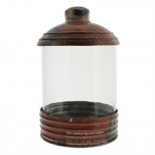 homart glass & reclaimed red metal canister, small