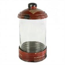 homart glass & reclaimed red metal canister, medium