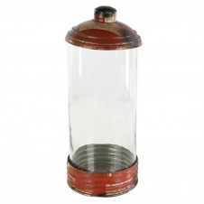 homart glass & reclaimed red metal canister, large
