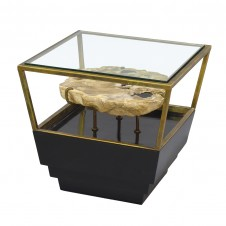 palecek apollo petrified wood side table