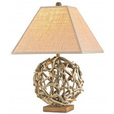 currey & company driftwood sphere table lamp