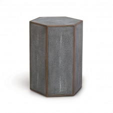 faux shagreen hex side table
