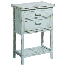 antique dusty aqua side cabinet w/ drawers