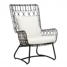palecek capri outdoor wing chair, black
