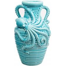 aqua double handle octopus vase