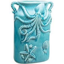 aqua double handle octopus sealife vase