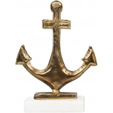 antique bronze anchor on marble stand