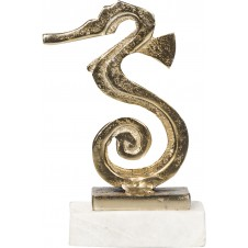 seahorse on bronze marble base small