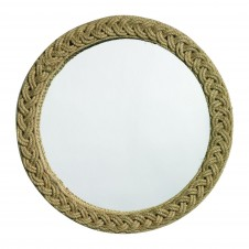 braided round jute mirror